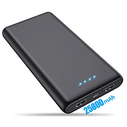 VOOE Batería Externa 25800mAh [Versión Mejorada] Power Bank Ultra Capacidad Cargador Portátil Móvil con 2 Puertos USB y Luces LED Power Bank Alta Velocidad Cargador para Smartphones Tabletas y Más
