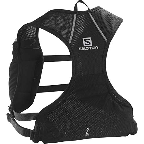 Salomon AGILE 2 SET Mochila de running ligera, 2 botellas SoftFlask 500 ml incluidas, LC1305900, 2L, Negro