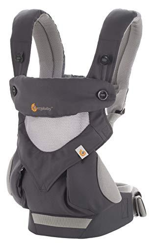 Ergobaby Portabebés 360 Cool Air Mesh Gris Carbón, Bolsa de transporte ergonómica 4en1 Sistema de transporte para bebés Portabebés hasta 20 kg