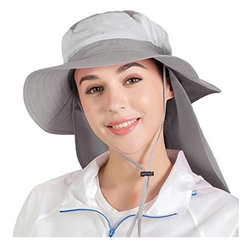 Everkeen Unisex de ala ancha Sombrero para el sol Gorra UPF50 + Protección UV Malla Cubo Sombrero Pesca al aire libre Senderismo Sombrero con protector de cuello Solapa