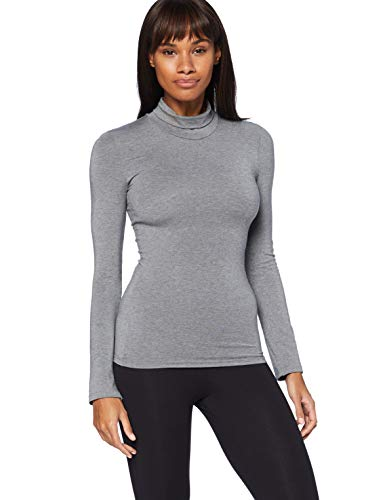 Marca Amazon - Iris & Lilly Camiseta térmica Mujer, Gris (Grey Melange), S, Label: S