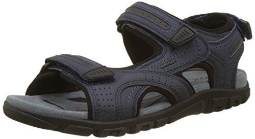 Geox Uomo Sandal Strada D, Sandalia con Pulsera para Hombre, Azul (Navy/Dk Grey), 45 EU