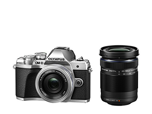 Olympus OM-D E-M10 Mark III Kit, Micro Four Thirds System Camera (16 MP, 5-Axis Image Stabilisation, Electronic Viewfinder) + M.Zuiko 14-42mm EZ Zoom Lens + M.Zuiko 40-150mm Tele Zoom, Silver/Black