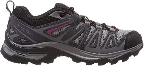 Salomon X Ultra 3 Prime W, Zapatillas de Senderismo para Mujer, Gris (Alloy/Ebony/Malaga), 38 EU