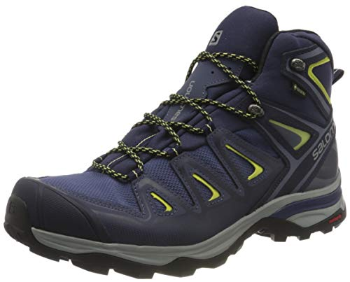 Salomon X Ultra 3 Mid GTX W, Zapatillas de Trail Running para Mujer, Azul (Crown Blue/Evening Blue/Sunny Lime 000), 38 EU