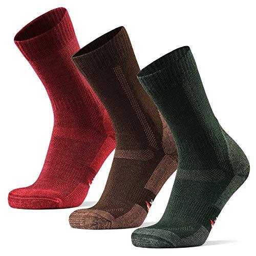 Calcetines de Senderismo y Trekking de Lana Merina para Hombre, Mujer y Niños, Pack de 3 (Multicolor: Marrón, Verde, Rojo, EU 43-47)