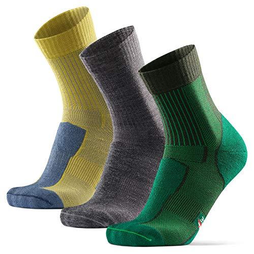 Calcetines Ligeros de Senderismo y Trekking de Lana Merino 3 pares (Multicolor: 1 x Gris, 1 x Verde, 1 x Amarillo, EU 43-47)