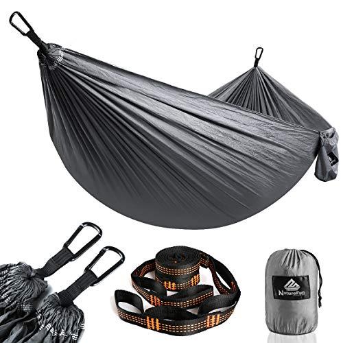 NATUREFUN Hamaca Ultraligera para Camping| 300kg de Capacidad de Carga, Estilo paracaídas de Nylon, Transpirable y de Secado rápido. 2 mosquetones Premium, 2 eslingas de Nylon Incluidas