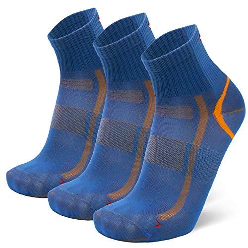 DANISH ENDURANCE Calcetines Deportivos Quarter Pro 3 Pares (Azul/Naranja, EU 35-38)