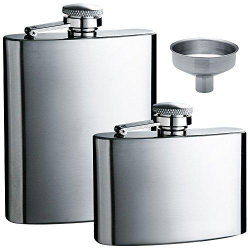 Frasco de la cadera 5oz y 8 oz con un práctico embudo, maxin 2 paquetes acero inoxidable fuga prueba licor cadera frascos con embudo para almacenar whisky y Alcohol.