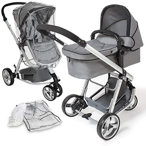 tectake 800043 - Cochecito para Bebés, Carrito con Capazo, 3 Ruedas, con Giro de 360°- disponible en varios Colores (Gris   No. 400829)