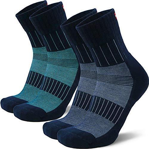 Calcetines de Running Merino Booster, para Hombres y Mujeres, Anti-ampollas, Antihumedad, Acolchados, Calcetines Deportivo (Multicolor (1 x Azul Marino/Turquesa, 1 x Azul Marino/Azul Claro), EU 39-42)