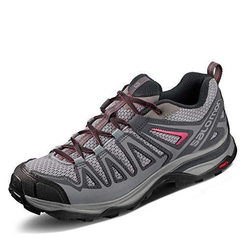 Salomon X Ultra 3 Prime W, Zapatillas de Senderismo Mujer, Gris (Alloy/Ebony/Malaga), 38 EU